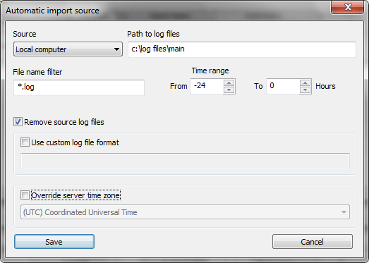 Automatic log file import entry